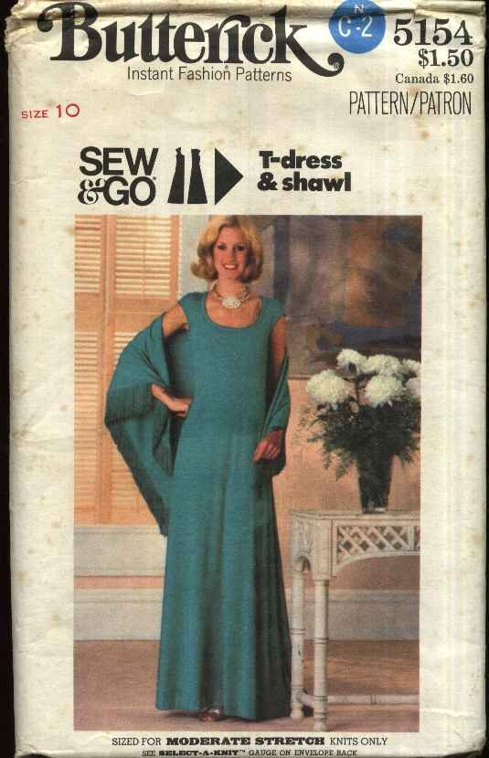 Butterick Sewing Pattern 5154 Misses Size 10 Long Knit Cap Sleeves T-Dress Shawl