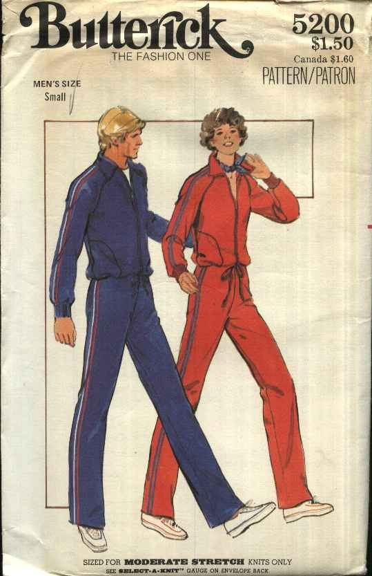 Butterick Sewing Pattern 5200 Men�s Size 28-30 Zipper Front Knit Workout Jacket Top Pants
