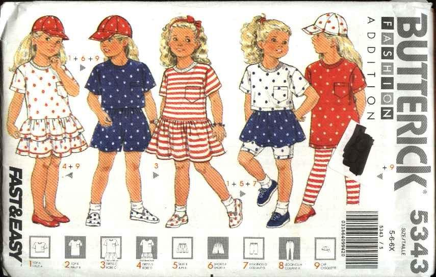 Butterick Sewing Pattern 5343 Girls Size 5-6X Easy Knit Wardrobe Dress Top Skirt Shorts Leggings Cap