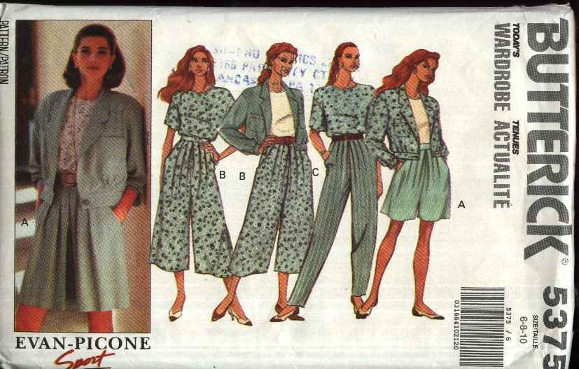 Butterick Sewing Pattern 5375 Misses Size 6-10 Easy Wardrobe Jacket Top Split Skirt Pants Gauchos