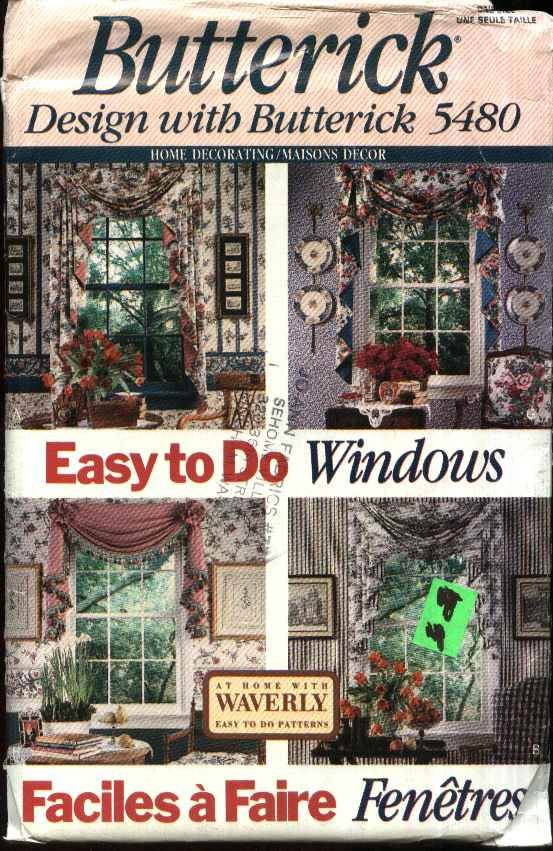 Butterick Sewing Pattern 5480 Easy Swags Valances Curtains Jabots Window Treatments