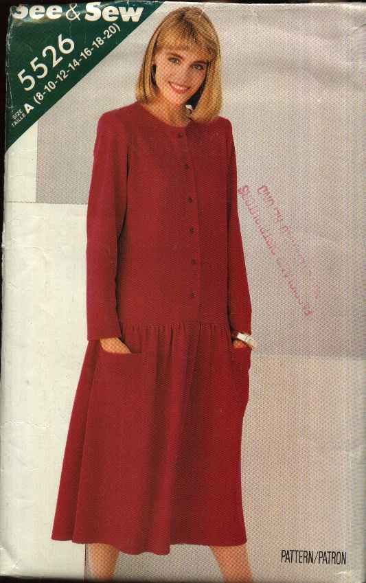 Butterick Sewing Pattern 5526 Misses Size 8-20 Easy Long Sleeve Dropped Waist Dress