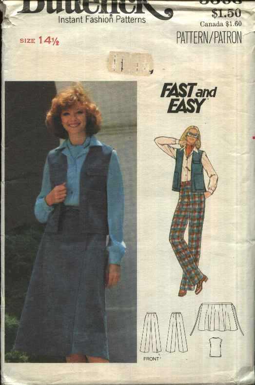 Butterick Sewing Pattern 5593 Womens Half Size 14 ½ Easy Vest Wrap Front Skirt Pants