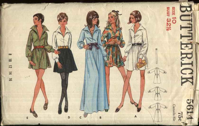 Butterick Sewing Pattern 5614 Misses Size 10 One-Piece Long Raglan Sleeves Flared Skirt Dress