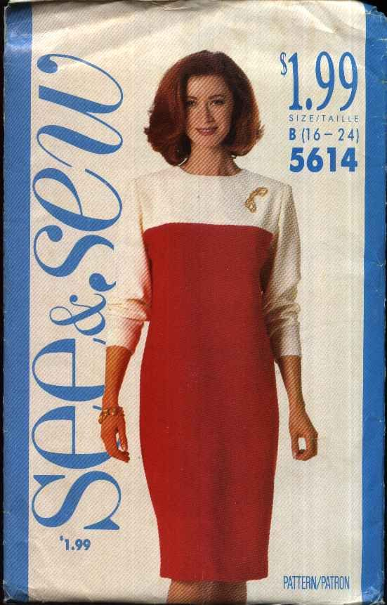 Butterick Sewing Pattern 5614 Misses Size 16-24 Easy Straight Long Sleeve Contrast Fabric Dress