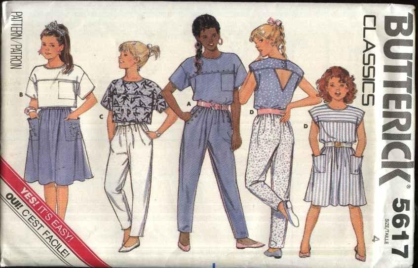 Butterick Sewing Pattern 5617 Girls Size 4 Easy Suntop Summer Top A-Line Skirt Tapered Pants