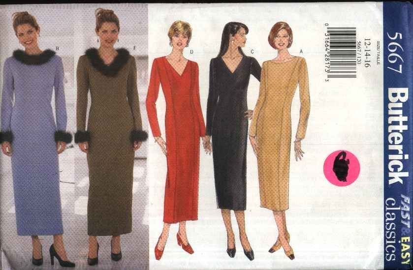Butterick Sewing Pattern 5667 Misses Size 12-16 Easy Straight Princess Seam Long Sleeve Dress