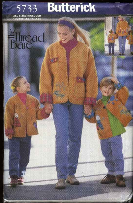 Butterick Sewing Pattern 5733 Misses Boys Girls All Sizes My Family & Me Applique Embellished Jacket