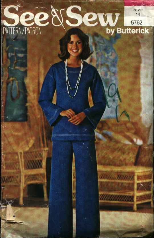 Butterick Sewing Pattern 5762 Misses Size 14 Easy Pullover Long Sleeve Top Bell Bottom Pants