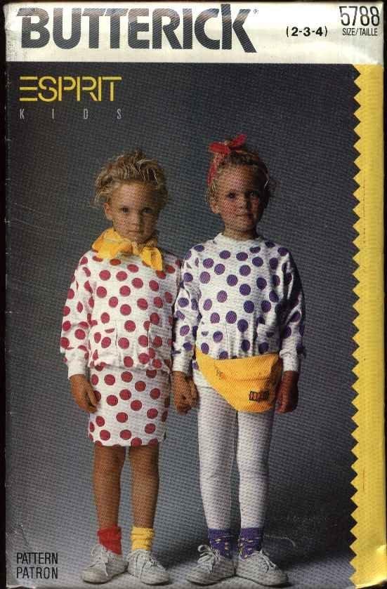 Butterick Sewing Pattern 5788 Girls Size 2-4 Esprit Kids Easy Knit Top Skirt Pants Leggings