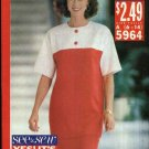Butterick Sewing Pattern 5964 Misses Size 6-14 Easy Contrast Fabric Short Sleeve Tunic Skirt