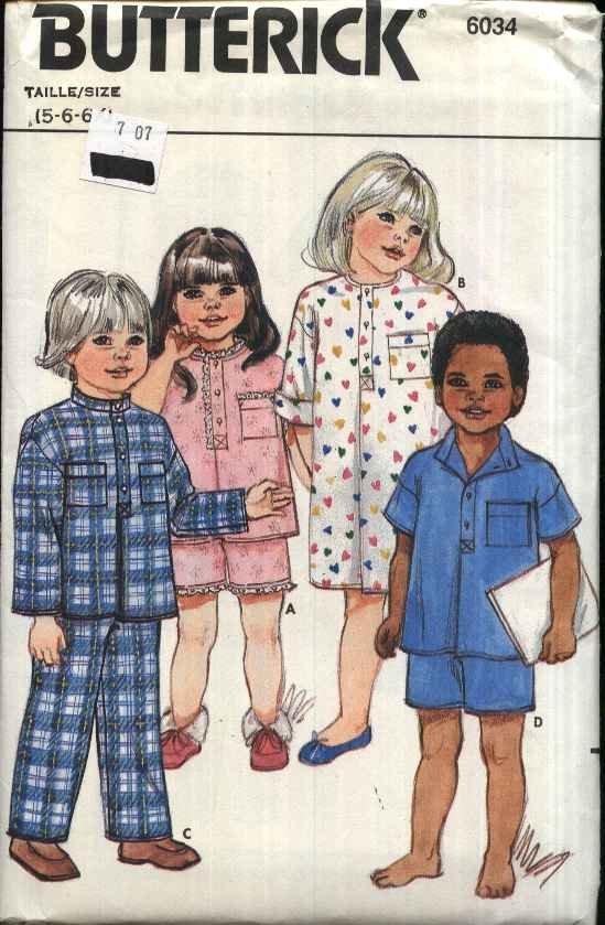 Butterick Sewing Pattern 6034 Children�s Boys Girls Size 5-6X Pajamas Nightshirt Top Pants Shorts