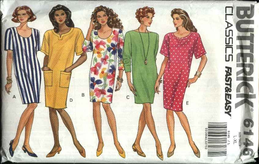 Butterick Sewing Pattern 6146 Misses Size 16-22 Easy Classic Pullover Dress Sleeve Neck Options