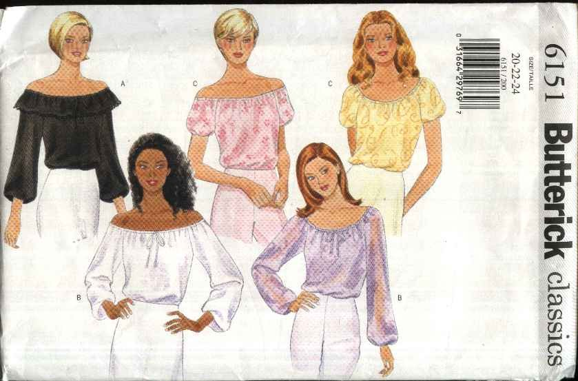Butterick Sewing Pattern 6151 Misses Size 20-24 Easy Classic Peasant Off the Shoulder Top