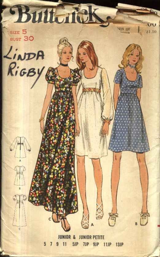Retro Butterick Sewing Pattern 6175 Junior Size 5  Empire Waist Long Short Dress Sleeve Options