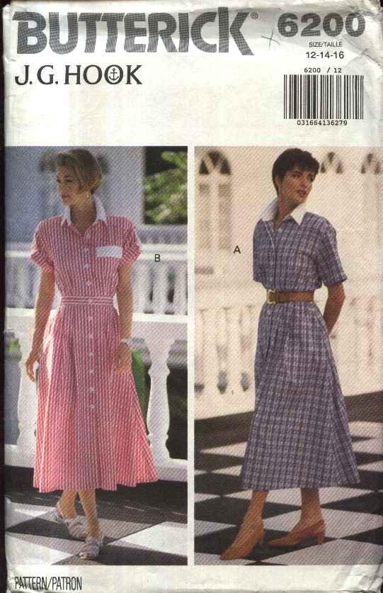 Butterick Sewing Pattern 6200 Misses Size 12-16 Short Sleeve Button Front Shirtwaist Classic Dress