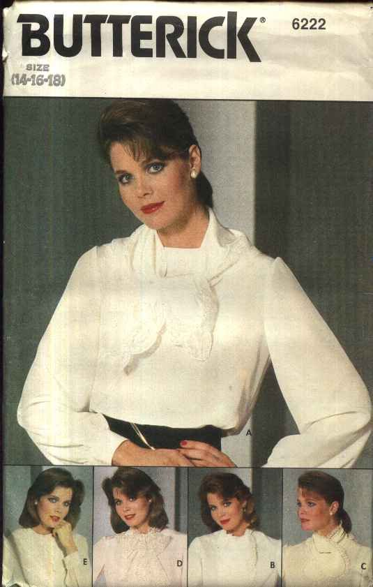 Butterick Sewing Pattern 6222 Misses Size 14-18 Pullover Long Sleeve Blouse Detachable Collars