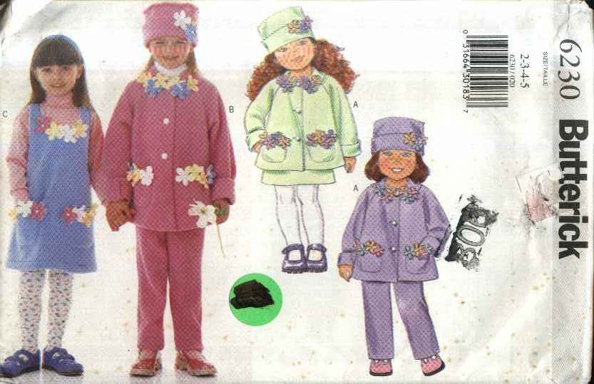 Butterick Sewing Pattern 6230 Girls Size 2-5 Easy Fleece  Jacket Jumper Pants Hat Flowers
