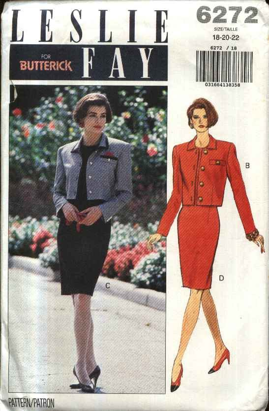Butterick Sewing Pattern 6272 Misses Size 18-22 Easy Button Front Jacket Straight Dress