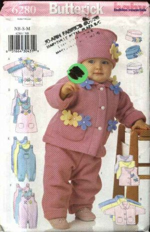 Butterick Sewing Pattern 6280 Baby Size NB-M Easy Fleece Jacket Vest Jumper Jumpsuit Hat