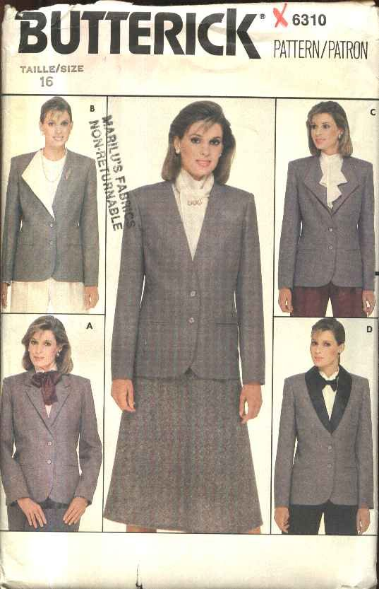 Butterick Sewing Pattern 6310 Misses Size 16 Lined Button Front Jacket Detachable Collar Variations