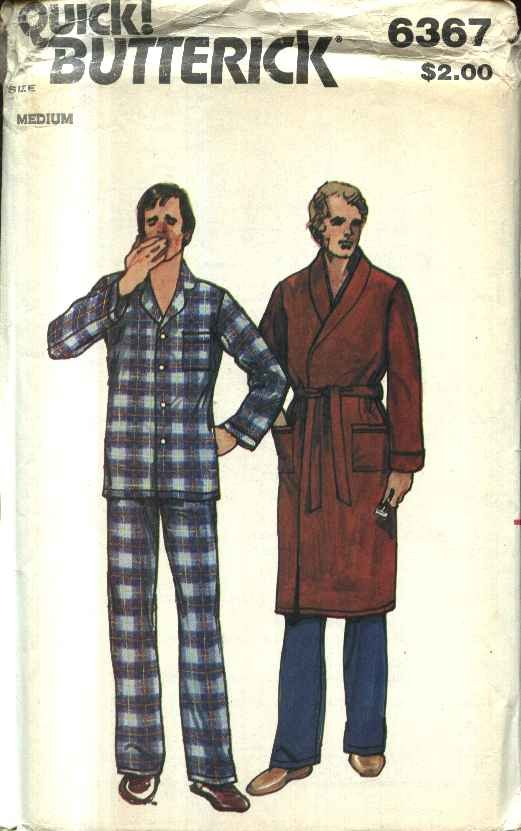 Butterick Sewing Pattern 6367 Men�s Size Small 34-36 Classic Button Front Pajamas Wrap Robe Belt