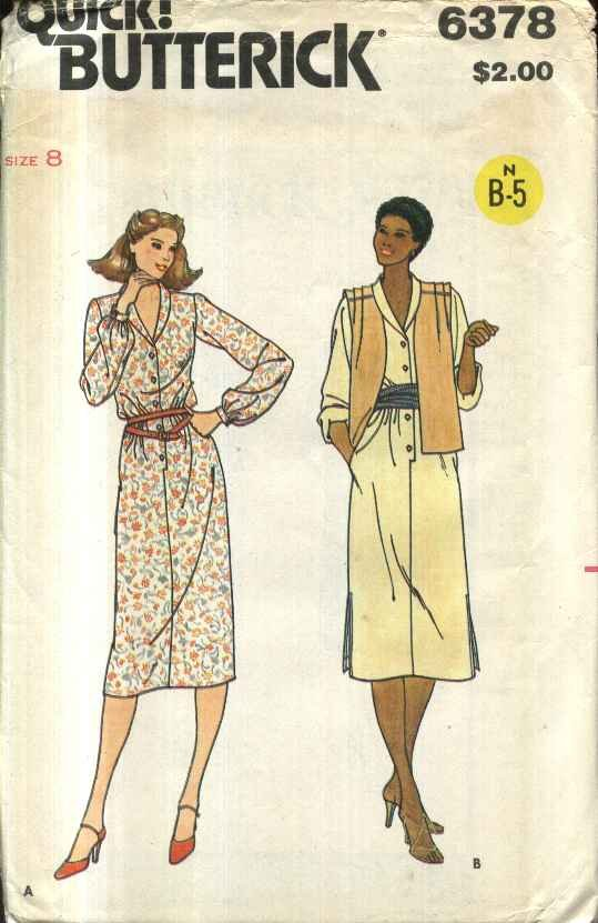 Butterick Sewing Pattern 6378 B6378 Misses� Size 8 Unlined Vest Long Sleeve Button Front Dress