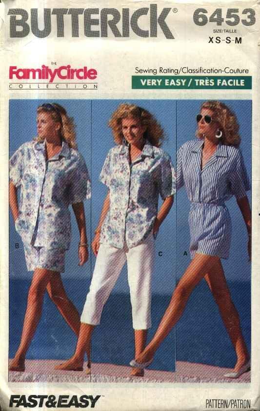 Butterick Sewing Pattern 6453 Misses Size 6-14 Summer Wardrobe Shirt Shorts Cropped Pants