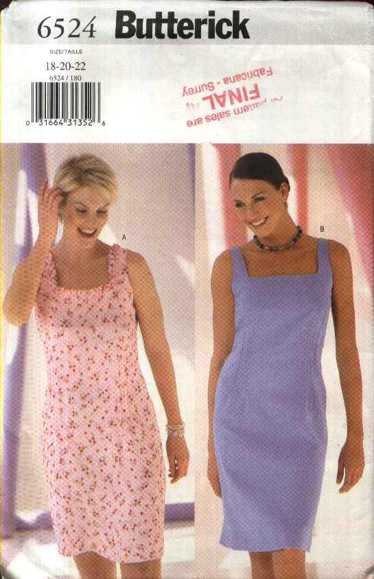 Butterick Sewing Pattern 6524 Misses Size 18-22 Easy Summer Sleeveless Straight Dress