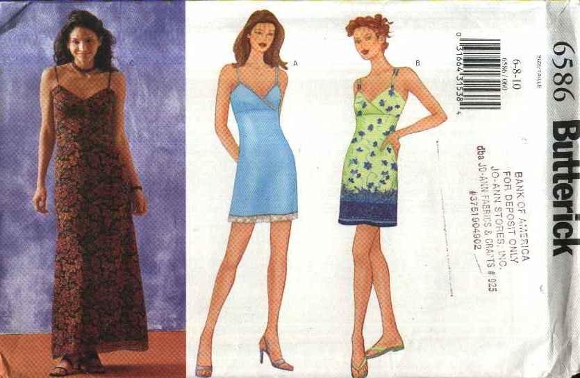 Butterick Sewing Pattern 6586 Misses Size 6-10 Easy Short or Long Slip Dress Summer