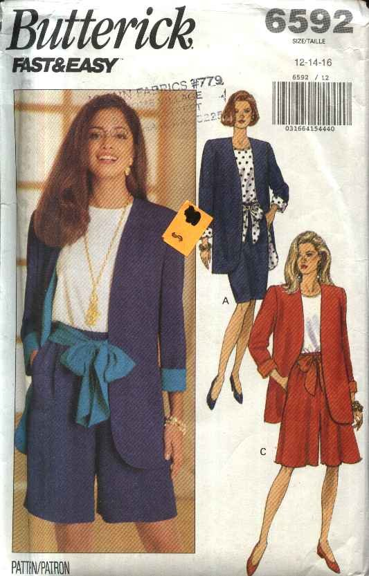 Butterick Sewing Pattern 6592 Misses Size 12-16  Easy Wardrobe Jacket Top Skirt Shorts