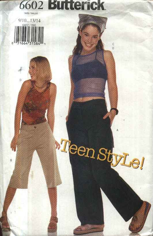 Butterick Sewing Pattern 6602 Juniors� Size 9/10-13/14 Easy Pants Shorts Halter Sleeveless Top