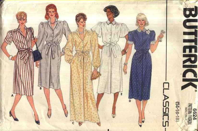 Butterick Sewing Pattern 6624 Misses� Size 14-18 Classic Button Front Dress Length Sleeve Options