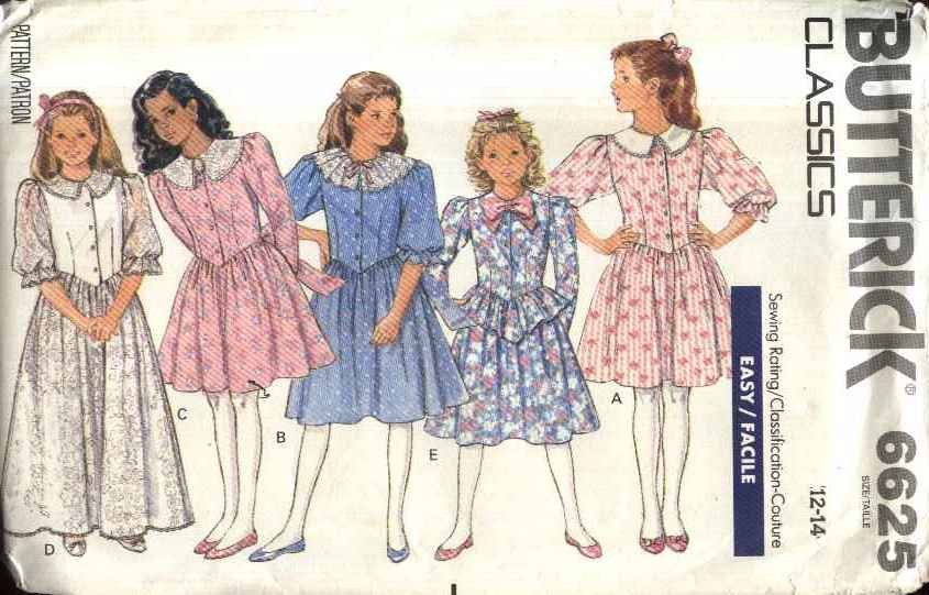 Butterick Sewing Pattern 6625 B6625 Girls Size 12-14 Easy Classic Formal Long Short Dress