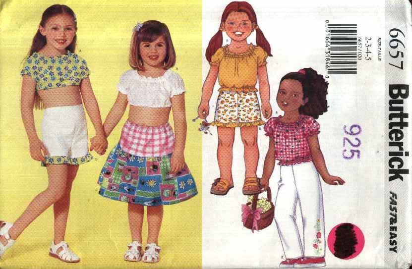Butterick Sewing Pattern 6657 Girl�s Size 2-5 Easy Peasant Pullover Top Tiered Skirt Shorts Pants