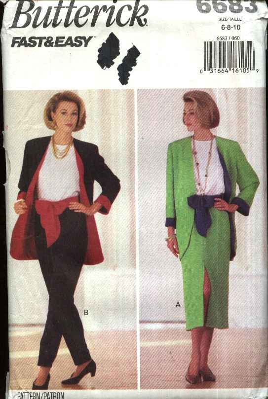 Butterick Sewing Pattern 6683 Misses Size 6-10 Easy Wardrobe Jacket Top Skirt Pants Sash