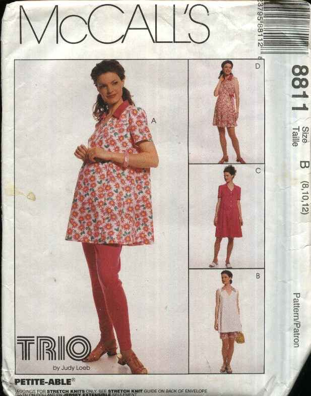 McCall�s Sewing Pattern 8811 Misses Size 10-14 Maternity Pullover Top Rompers Leggings