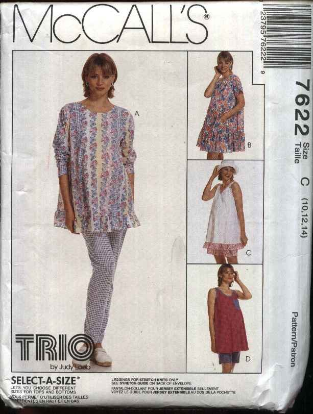 McCall�s Sewing Pattern 7622 Misses Size 10-14 Maternity Pullover Dress Top Shorts Leggings