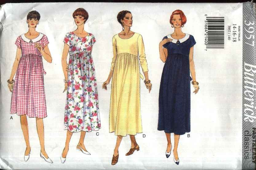 Butterick Sewing Pattern 3957 Misses Size 14-18 Easy Classic Maternity Dress Sleeve Options