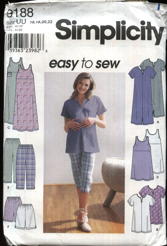 Simplicity Sewing Pattern 9188 Misses Size 8-14 Easy Maternity Wardrobe Dress Shorts Tops Jumper