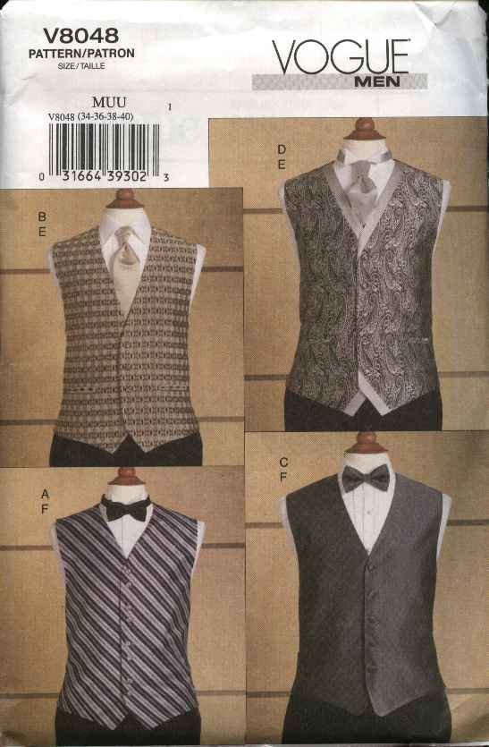 Vogue Sewing Pattern 8048 V8048 Mens Size 34-40 Formal Vests Tie Bowtie