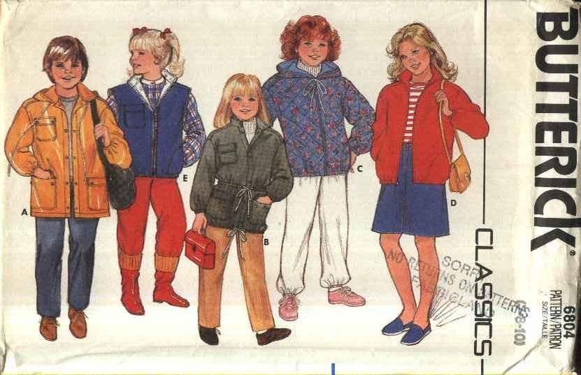 Butterick Sewing Pattern 6804 Girls� Size 7-10 Classic Zipper Snap Front Jacket Vest Hood