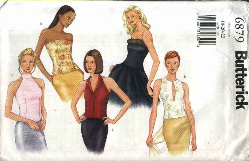Butterick Sewing Pattern 6879 Misses Size 18-22 Easy Halter Strapless Bustier Formal Tops