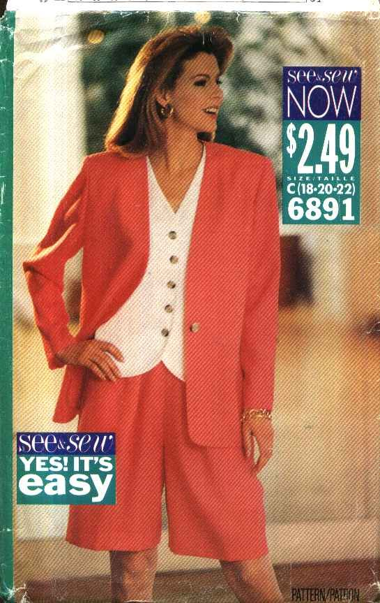 Butterick Sewing Pattern 6891 Misses Size 18-22 Easy Unlined Jacket Top City Walking Shorts