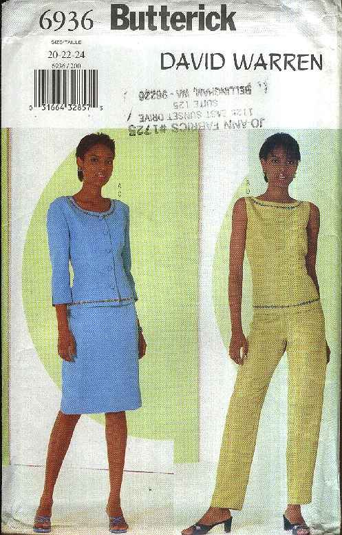 Butterick Sewing Pattern 6936 Misses Size 20-24 Easy Wardrobe Jacket Top Skirt Pants