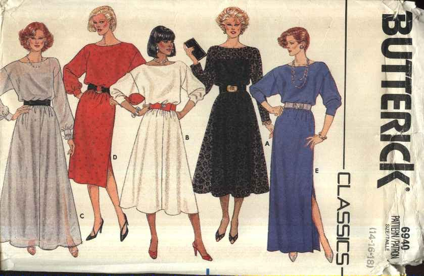 Butterick Sewing Pattern 6940 Misses Size 14-18 Classic Formal Evening Gown Dress Slip