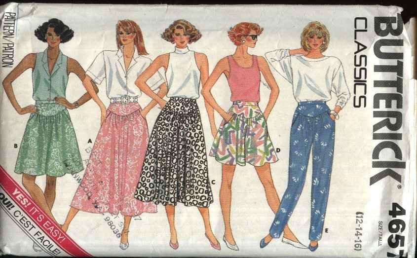 Butterick Sewing Pattern 4657 Misses Size 6-10 Easy Classic Yoke Skirt Culottes Split-Skirt Pants