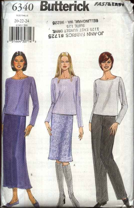 Butterick Sewing Pattern 6340 Misses Size 20-24 Easy Wardrobe Pullover Top Straight Skirt Pants