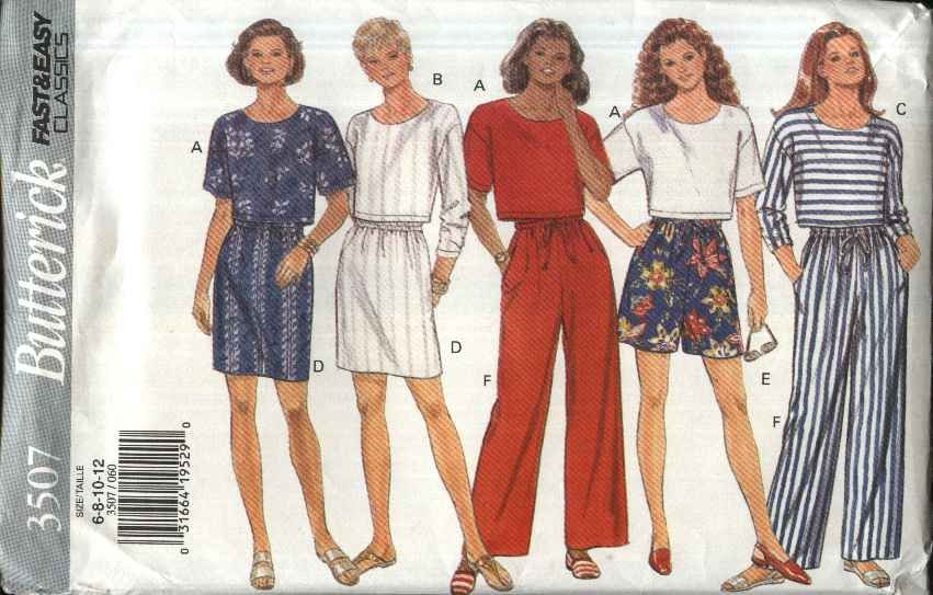 Butterick Sewing Pattern 3507 B3507 Misses Size 14-18 Easy Classics Cropped Top Skirt Shorts Pants