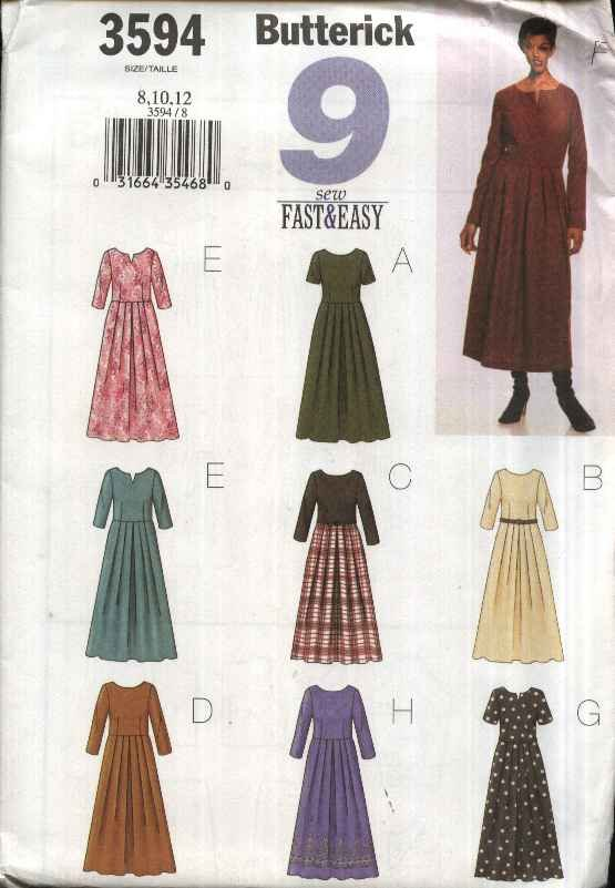 Butterick Sewing Pattern 3594 Misses Size 14-18 Easy Waist Dress Pleated Skirt Sleeve Options